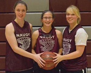 Naugatuck High School girls basketball captains, from left, Nicole Boucher, Jackie Aronin and Andrea Mercer will lead the Greyhounds on the court. –KEN MORSE