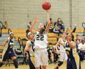 Woodland's Morina Bojka (22) puts up a shot in the paint versus Kennedy Dec. 23 in Beacon Falls. Woodland won the game, 64-56. –ELIO GUGLIOTTI