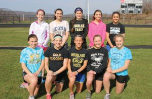 Woodland seniors, front row from left, Kailyn Accetura, Haleigh Resnick, Jess Rodrigues, Lisa Thrasher, Lauren Lombardo; back row from left, Kelsey Mitchell, Alexandria Rosenbeck, Jenna Zollo, Ava Capuano and Alexa Casimiro will lead the girls track team this season. –LUKE MARSHALL