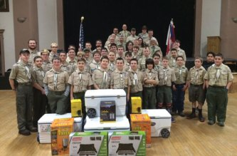 Naugatuck Boy Scout Troop 138 recently received a donation of over $1,000 of camping equipment from Cabela's. -CONTRIBUTED