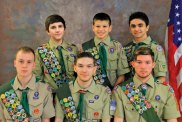 Six Boy Scouts from Troop 258 in Prospect recently achieved the rank of Eagle Scout. Each scout completed a community service project. Pictured, bottom row from left, Michael Framski, whose project was landscaping at St. Anthony's Church, Connor Valinsky, whose project was painting playground games on the blacktop of Prospect Elementary School, James Jensen, whose project was photographing, recording and uploading all the graves in the Prospect Cemetery; top row from left, Kyle Bolduc, whose project was renovating the gazebo at St. Michael's Church in Beacon Falls, Matthew Iannone, whose project was to build picnic tables for Canfield Park, and Antonio D'Amelio, whose project was landscaping at St. Anthony's Church. –CONTRIBUTED