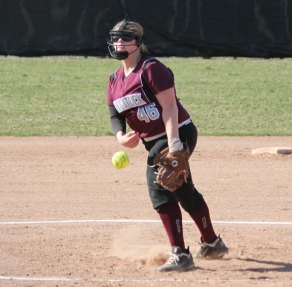 Naugatuck's Jess Conover delivers a pitch versus Holy Cross Monday in Naugatuck. Holy Cross won the game, 3-0. –ELIO GUGLIOTTI