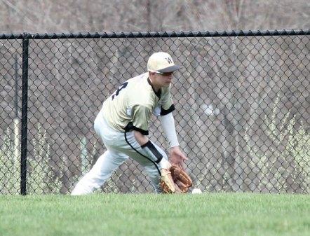 Woodland's Justin Butterworth fields a ball in centerfield April 22 versus Ansonia in Beacon Falls. –ELIO GUGLIOTTI