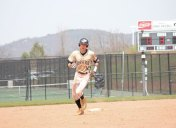 Woodland's Tyler Boisvert rounds second base after hitting a solo home run April 22 versus Ansonia in Beacon Falls. –ELIO GUGLIOTTI
