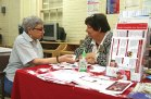 Carmella Susan, left, of Naugatuck, talks with Sandra Micalizzi, of the Heart Center of Greater Waterbury, about diabetes at the Naugatuck Senior Center April 21 during the 2016 Naugatuck Senior Health and Wellness Clinic and Screening event. The event featured health care professionals providing complimentary screenings and health information. –LUKE MARSHALL