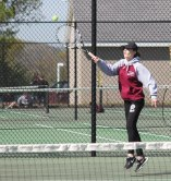 Naugatuck and Woodland faced off in the first round of the NVL girls tennis tournament Monday in Beacon Falls. Naugatuck won the match, 4-3. –ELIO GUGLIOTTI
