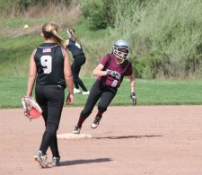 Naugatuck's Jackie Aronin (6) rounds second on her way to a triple versus Woodland Monday in Beacon Falls. Naugatuck won the game, 5-1. –ELIO GUGLIOTTI