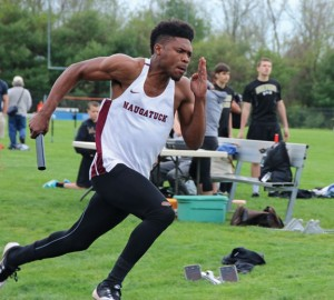 Naugatuck's Antoine Sistrunk and the Greyhounds' boys and girls track teams will bring a balanced attack into the NVL championship meet May 24. –FILE PHOTO