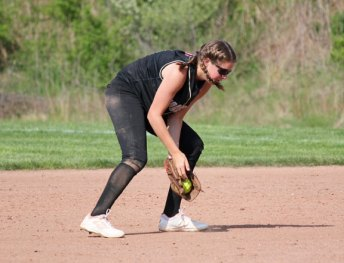 Woodland's Maddie Hupprich fields a ground ball at second base versus Wolcott May 12 in Beacon Falls. Wolcott won the game, 9-7. –ELIO GUGLIOTTI