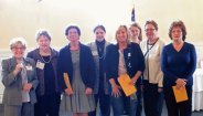 The Naugatuck Woman's Club recently added five new members to its membership list. Pictured, from left, President Laura Smith, Membership Chairman Betty Schiethe, new members Harriet Cantilena, Peg Taggett, Doreen Dilger, Theresa Taggett, Vivian Fusco and Maria Fatima Gomes. –CONTRIBUTED