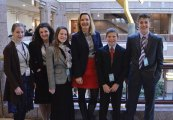State Rep. Lezlye Zupkus, R-Prospect, met and spoke with student members of CT TeenPact at the state Capitol in April. Pictured, from left, Rebekah Wallace, Leah Shirk, Susannah Wallace, Zupkus, Caleb Shirk and Ben Shirk. –CONTRIBUTED