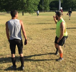 Naugatuck Valley Riverdawgs captain John Esser, right, gives instruction during practice last week at Buck Hills Park in Waterbury. The Riverdawgs, a semi-professional football team based in Naugatuck, are preparing for their first season in Major League Football. –SPENCER DREHER