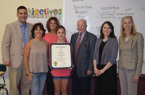 """Hillside Intermediate School student Alena Rotatori was honored for being among the winners of the 2nd annual Women's History Month Essay Contest. All Naugatuck sixth-grade students were invited to participate in writing a 300-word essay on """"How a Connecticut Woman Made a Contribution to the State and/or Nation and How it Affects Me."""" -CONTRIBUTED"""