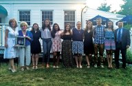 """The Camille B. Perugini Charitable Trust awarded $10,500 in scholarships to local students June 20 at Jesse Camille's Restaurant in Naugatuck. Naugatuck High School students Theresa Montoni, Meghan Lauer, Amber Luis and Jenna Massicotte; Wolcott High School students Alexander Tapley, Jenessa Teta, Madison Greenstein and Jorgija Cironaku; Woodland Regional High School students Zachary Crowell, Brian Sardinskas and Mary Vlamis; and Holy Cross High School student Jacquelyn Fay Brouillette received scholarships. The scholarships are awarded in memory of Camille B. """"Candy"""" Perugini, who grew up in Prospect. Camille Perugini graduated from Boston College 1992 with a degree in elementary education. She died unexpectedly in 1997 from an undiagnosed medical condition that caused her heart to fail. Pictured, from left, Camille Perugini's sister and trustee Carla M. Perugini-Erickson, Camille Perugini's mother Camille Perugini, Brouillette, Luis, Massicotte, Montoni, Cironaku, Lauer, Sardinskas, Vlamis and Woodland Regional High School Principal Kurt Ogren. –CONTRIBUTED"""