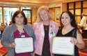 Ruthy Sagastume, of Naugatuck, right, received the Multi-Skilled Technicians Excellence Award from Griffin Hospital June 22 at the hospital's Sixth Annual MST Day Celebration. The award is given to an MST who consistently demonstrates excellent bedside care and professionalism towards patients, and possesses a kind and caring attitude. Sagastume is pictured with Maria Morgado, of Waterbury, left, the hospital's Heart of Caring Award recipient, and Griffin Hospital Vice President of Patient Care Services Barbara Stumpo. –CONTRIBUTED