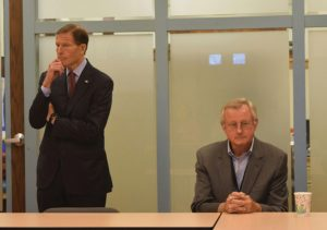Sen. Richard Blumenthal, D-Conn., and Ronald Kraatz, senior manager of Healthy Homes program for Connecticut Children's Medical Center, listen to questions from community members regarding what will be done with the $1.2 million grant and what qualifications are required to qualify July 21 at the Naugatuck Valley Health District office in Seymour. –REPUBLICAN-AMERICAN