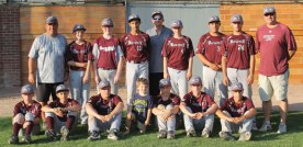 The Naugatuck travel baseball 14U team won the CABC Sandy Koufax State Tournament with a 4-2 win over Tribury in the championship game July 9 in Waterbury. The team advanced to the advanced to the AABC Northeast Regionals. Naugatuck went undefeated in the state tournament beating Watertown and Tribury in a doubleheader on July 8, before facing Tribury again in the title game. Pictured, front row from left, John Braziel, Jay Mezzo, Mike Natkiel, Jack Mezzo, Derrick Jagello, Mark Nofri, George Cruz; back row from left, coach Mark Nofri, Nick Grant, Ryan McCarthy, Alvin Torres, coach Bob Bruno, Nick Bruno, Tristan Crelan, Derek Sampaio and coach Jon Jagello. –CONTRIBUTED