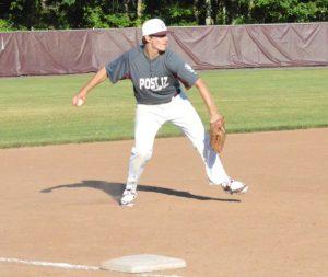 Post 17's Jason Bradley scoops up a groundball and fires across the diamond June 29 versus Oakville at Pomperaug High School. Oakville won the game, 5-4. –KEN MORSE