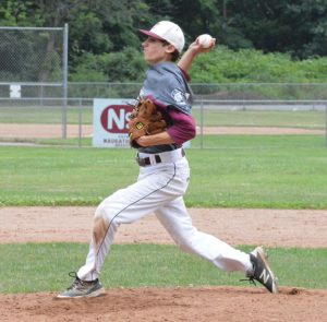 Post 17's Corey Plasky delivers a pitch against Ansonia Saturday at Rotary Field in Naugatuck. Post 17 won, 3-0. –KEN MORSE