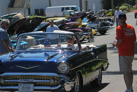 Cars and people fill Center Street in Prospect during the town's annual Car Show and Sock Hop last year. –FILE PHOTO