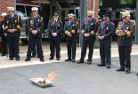 Members of the Volunteer Fire Department of Prospect watch as the mortgage on the firehouse burns July 30 during a ceremony at the firehouse. The town paid off the mortgage on the firehouse, which was built in 1996, in July and hosted a mortgage burning ceremony with current members and past chiefs to celebrate. –LUKE MARSHALL