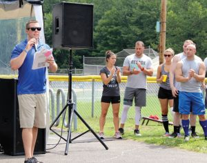 Ryan Matthew, executive director and founder of The Susie Foundation, speaks before the fourth annual Susie Classic kickball tournament Aug. 6 at the Pent Road Recreation Complex in Beacon Falls. The day-long event raised money for The Susie Foundation to help fund research and support ALS patients, families and caregivers in Connecticut. - JORDAN E. GRICE