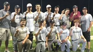Sibby's won the Naugatuck Babe Ruth championship last week. Pictured, front row, Nick Jennings, Ryan Sutherland, John Braziel, Nick Stefan, Ryan McCarthy; back row, coach Brian Farrell, Spencer Hensley, Brian Andrade, Joe Poveromo, Zach Royka, Matt Granchelli, Dawson Sigetti, coach Gene Hensley and coach Dennis Sigetti. Missing from photo, John McGovern. –CONTRIBUTED