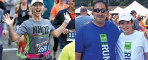 Naugatuck residents Katey Baruh, pictured at left, and Geno Burke and his son, Garrett, right, were named to the 2016 Aiello Inspiration Team at the Eversource Hartford Marathon and Half Marathon.-CONTRIBUTED