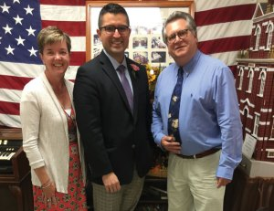 Naugatuck Senior Center Director Harvey Leon Frydman, right, is pictured with Senior Policy Analyst for Aging Christianne Kovel, left, and Executive Director for the state Commission on Women, Children and Seniors Steven Hernandez Sept. 6 at the Naugatuck Senior Center. Frydman was recently named to a state task force to study senior centers. –CONTRIBUTED