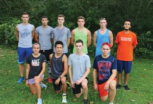 Naugatuck High School seniors, bottom row from left, Lauren Stankiewicz, Luis Garces, Joseph Dempsey, James Clark; back row from left, Matthew Wahl, Rami Ammar, David Kerns, Brandon Thomas, Grady Beasley, Caleb Brito, and (missing from photo) Steffanie Dube will lead the cross country team this season. –LUKE MARSHALL