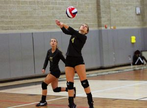 Woodland's Katie Minutillo (4) hits the ball Sept. 21 versus Wilby in Beacon Falls. Woodland won, 3-0. –ELIO GUGLIOTTI