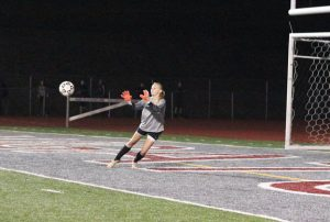 Naugatuck's Cassidy Baranowski makes a save versus Watertown Oct. 7 in Naugatuck. Watertown won the game, 8-2. –ELIO GUGLIOTTI