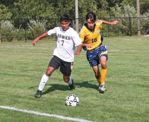 Woodland's Anthony Barreira (7) had two goals in a 7-4 win over Wilby on Sept. 30. The Hawks have scored 31 goals through nine games this season, four more than they scored all of last year. –FILE PHOTO