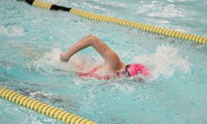 Woodland's Brooke Pope competes in the 200 freestyle against St. Paul Oct. 14 in Beacon Falls. Woodland won the meet, 88-78. –ELIO GUGLIOTTI