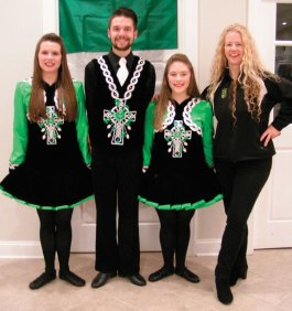Irish step dancers from the Horgan Academy volunteered to perform at the Celtic New Year celebration Oct. 29 hosted by the Naugatuck Ancient Order of Hibernians and the Ladies Ancient Order of Hibernians at St. Francis Church hall in Naugatuck. The celebration benefited the Naugatuck Ecumenical Food Bank. Pictured, from left, Meghan, Christian, Lindsey and Horgan Academy Director Irene Horgan. –CONTRIBUTED