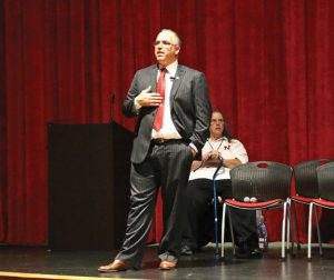 Naugatuck Board of Education Vice Chairman Glenn Connan discusses a proposal to change the start times of schools in Naugatuck during a public forum Nov. 2 at Naugatuck High School. –LUKE MARSHALL