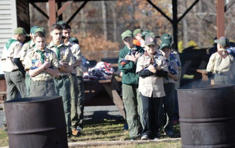 Troop 258 in Prospect participated in a flag retirement ceremony hosted by VFW Post 8075 Nov. 12. –CONTRIBUTED
