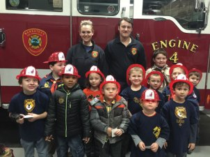 Cub Scouts from Pack 109 visited the Naugatuck Fire Department Dec. 6 where firefighters Katie Judson and Ben Mike taught the scouts and their siblings about fire safety. –CONTRIBUTED