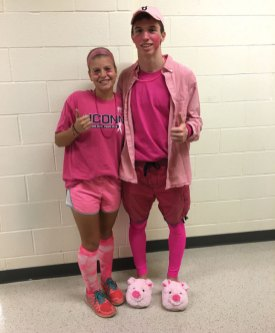 Naugatuck High School held its second annual Pinkapalooza in October to raise awareness of breast cancer. Students wore pink and staff members voted on the best outfit of the day, which came down to Brian Goggin and Nicole Crowley, pictured. Crowley won best outfit. Students raised over $750 during the event. The money will be donated to National Breast Cancer Awareness Foundation. –CONTRIBUTED