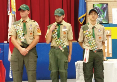 Boy Scouts from Troop 258, from left, Patrick Vogel, Brandon Peach and Sebastian Corales, earned their Eagle Badge on Nov. 20. –CONTRIBUTED