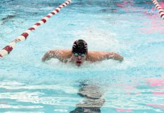 Naugatuck's Evan Bombery does the butterfly during the 200 medley relay against Woodland Jan. 18 in Naugatuck. Naugatuck won the meet, 90-87. –ELIO GUGLIOTTI