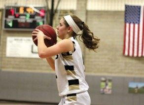 Woodland's Maddie Hupprich lines up a shot versus Torrington Monday at Woodland Regional High School in Beacon Falls. Torrington won the game, 41-36. –ELIO GUGLIOTTI