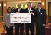 The Ion Bank Foundation recently awarded a $10,250 grant to the Naugatuck Economic Development Corp. The NEDC is a public/private partnership that focuses on all aspects of economic development in Naugatuck. Pictured, from left, Ion Bank branch manager Sorrina Salvatore, NEDC CEO and President Ronald Pugliese, Ion Bank President and CEO Charles Boulier, III, and Ion Bank Chief Financial Officer David Rotatori. –CONTRIBUTED