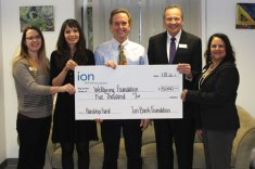 The Ion Bank Foundation recently awarded a $5,000 grant to the Bethlehem-based Wellspring Foundation for the Outpatient Hardship Fund in its Middlebury office. Pictured, from left, Woodbury Ion Bank branch manager Jessica Allen, Wellspring Foundation Outpatient Services Coordinator Amy Langevin, Wellspring Foundation Assistant Clinical Director and Director of Outpatient Services Mark Johnson, Ion Bank and Ion Bank Foundation President and CEO Charles Boulier III, and Watertown Ion Bank branch manager Diane Stewart. –CONTRIBUTED