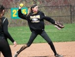 Woodland's Steph Krebbs throws to first versus Wolcott April 13 in Beacon Falls. Wolcott won the game, 13-1. –ELIO GUGLIOTTI