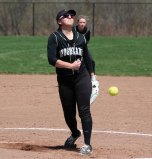Woodland's Ivy Geloso pitches against Wolcott April 13 in Beacon Falls. Wolcott won the game, 13-1. –ELIO GUGLIOTTI