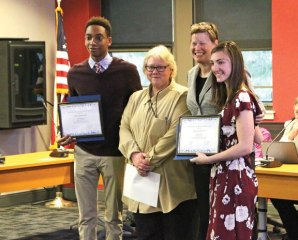 Naugatuck High School seniors Omari Solomon, left, and Stefanie Dube, right, who is also a student representative to the Board of Education, pose with Board of Education Chairman Dorothy Neth-Kunin, center left, and Superintendent of Schools Sharon Locke after they received the Connecticut Association of Boards of Education's Leadership Award on April 20. Neth-Kunin said the award recognizes students who exhibit exemplary leadership skills. –LUKE MARSHALL