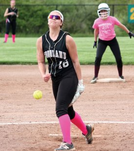 Woodland's Ivy Geloso pitches May 10 against Naugatuck at Woodland Regional High School in Beacon Falls. –ELIO GUGLIOTTI