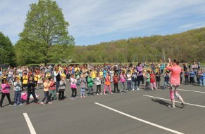 Students and staff at Laurel Ledge Elementary School in Beacon Falls kicked off National Physical Education Month by participating in a school wide dance on May 4. –CONTRIBUTED
