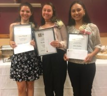 The Clube Uniao Portuguesa recently awarded its annual scholarships to three students of club members, from left, Laura Vitzoski from Woodland Regional High School, Rachel Queiros from Naugatuck High School and Julia DaSilva from Sacred Heart High School. -CONTRIBUTED